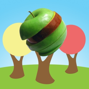 Quite little graphic of an apple tree in fall